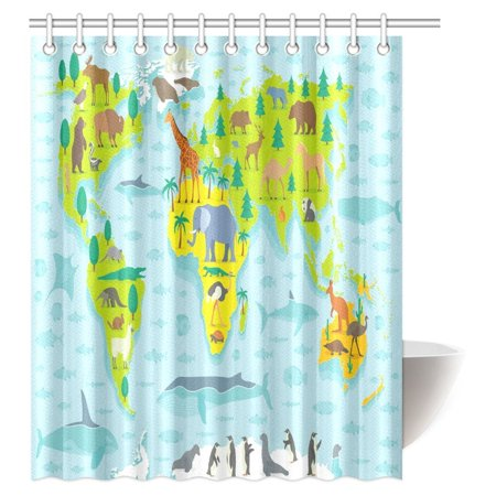 MYPOP Funny Shower Curtain Decor Animal Map Of The World For Children And Kids Cartoon