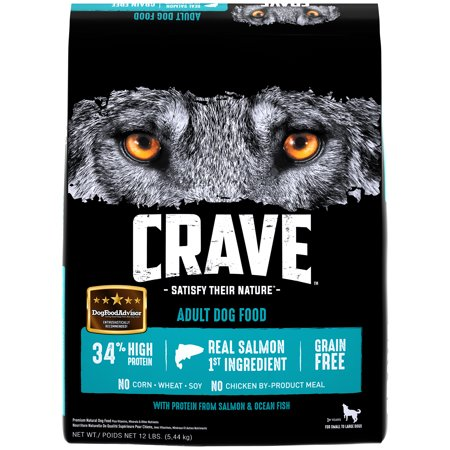 CRAVE Grain Free Adult Dry Dog Food with Protein from Salmon and Ocean Fish, 12 lb. Bag