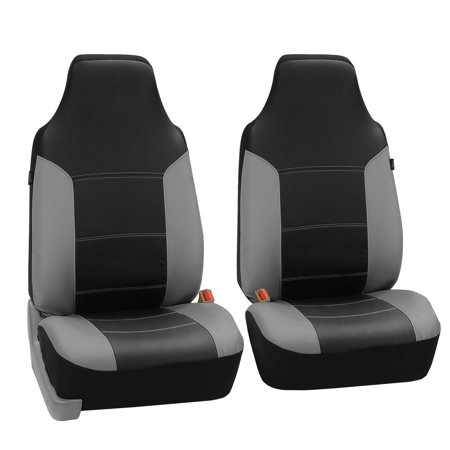 FH Group Highback Seat Royal Leather Seat Covers for Sedan, SUV, Van, Truck, Two Highback Buckets, Black Gray ()