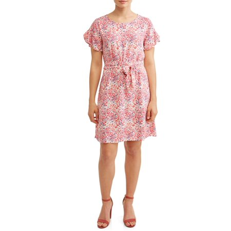 Women's Woven Printed Ruffle Sleeve (Ruffled Tropical Print Dresses)