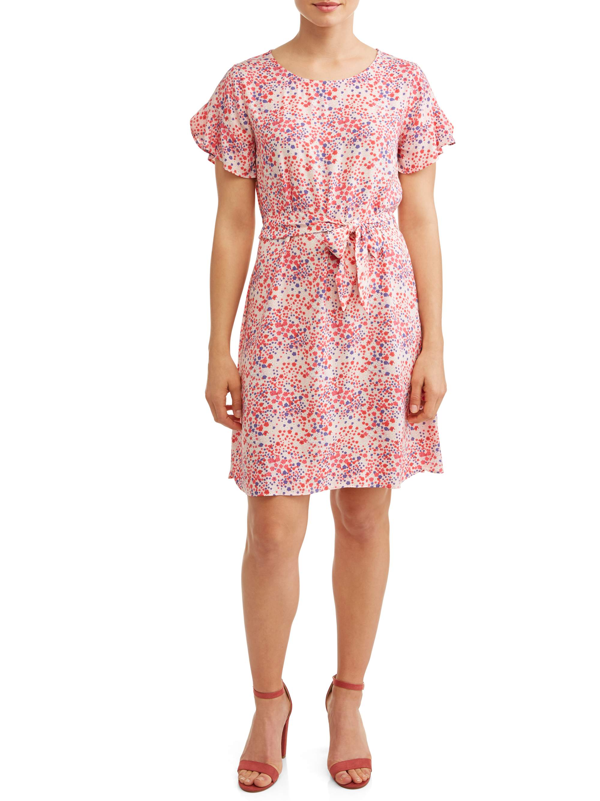 Women's Woven Printed Ruffle Sleeve Dress
