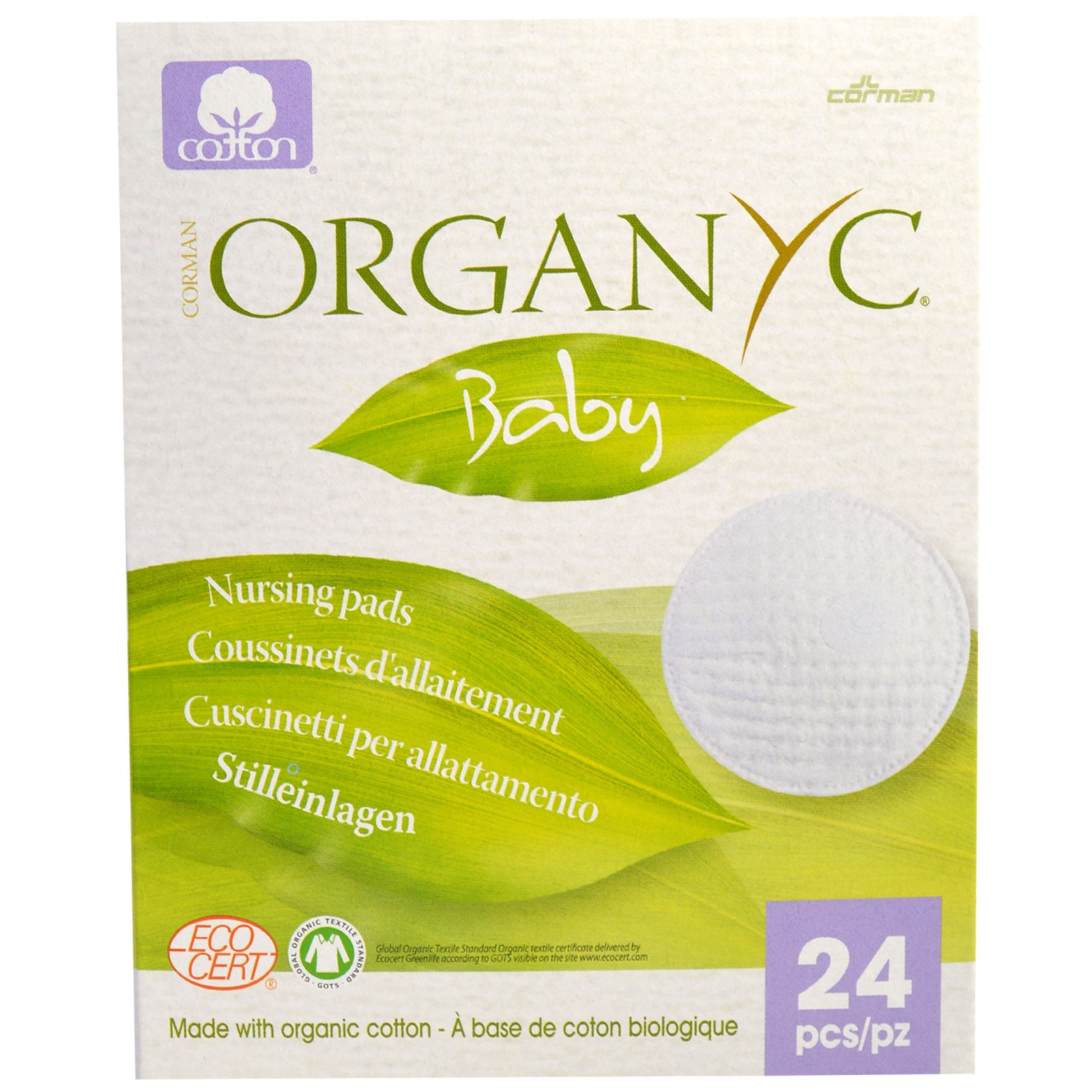 Organyc, Baby, Nursing Pads, 24 Pieces(pack of 6) by Organyc