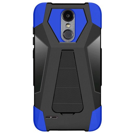 Turbo Rubber - For LG Tribute Dynasty Turbo Layer HYBRID KICKSTAND Rubber Case Cover Accessory (Black Blue)