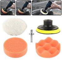 "5Pcs 3"" Buffing Pad Auto Car Polishing Wheel Kit Buffer + Drill Adapter Set"