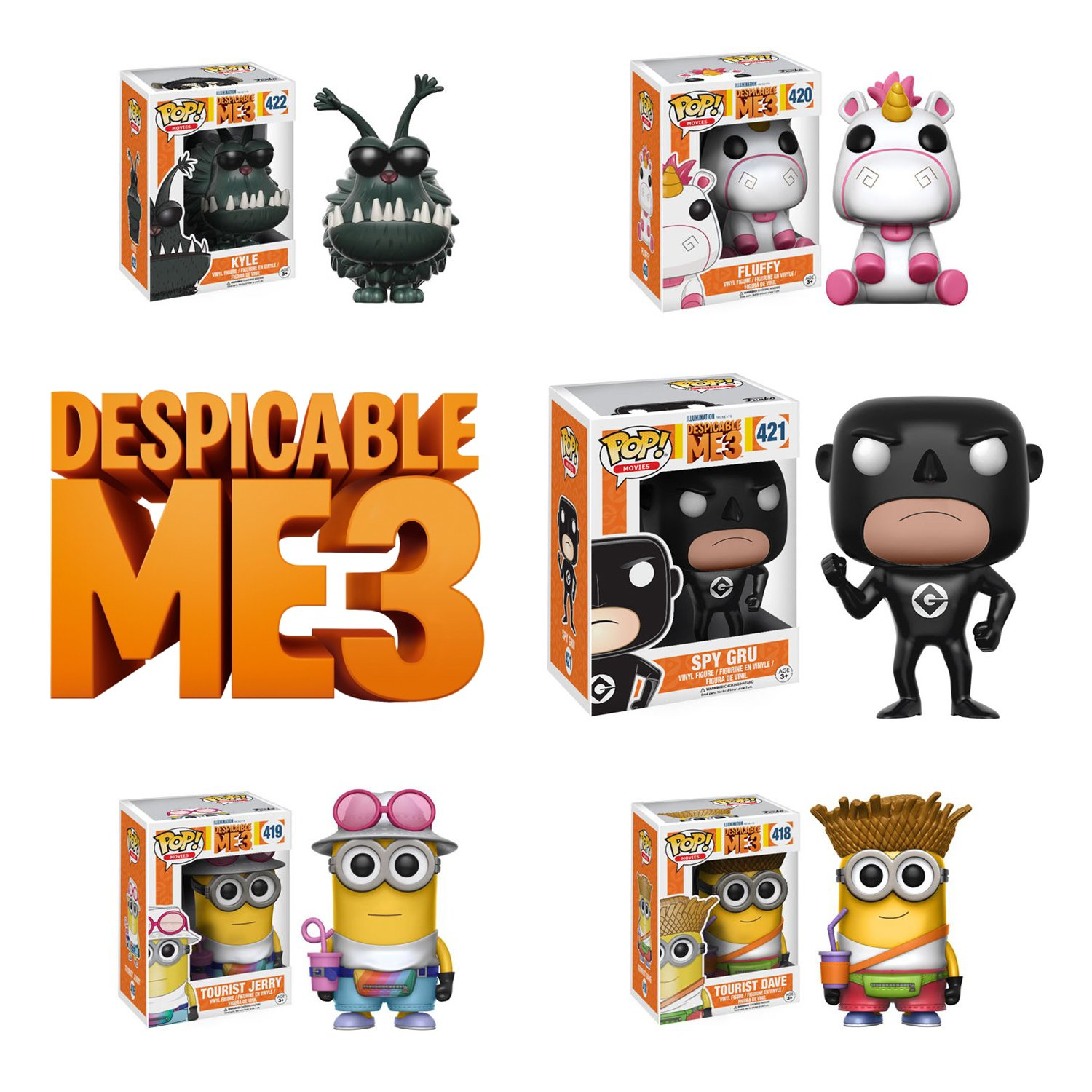 Pop! Movies: Despicable Me 3 Kyly, Fluffy, Spy Gru,Dave and Jerry! Vinyl Figures Set of 5