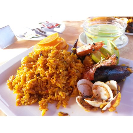 Canvas Print Paella Seafood Fish Spanish Canary Islands Spain Stretched Canvas 10 x