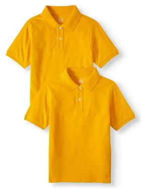 Wonder Nation Husky Boys School Uniform Short Sleeve Pique Polos, 2-piece Multipack (Husky)