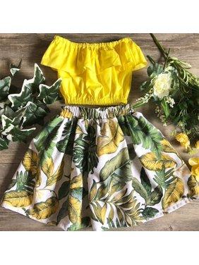 8f15f9092c6f Product Image Tropical Toddler Kids Baby Girl Flower Cotton Crop Off  Shoulder T-shirt Tops Skirt Dress