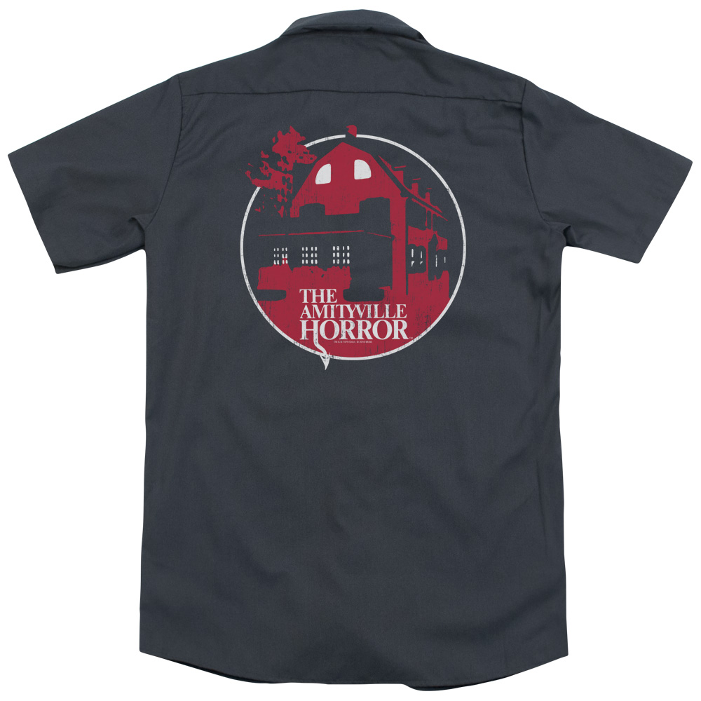 Amityville Horror Red House (Back Print) Mens Work Shirt