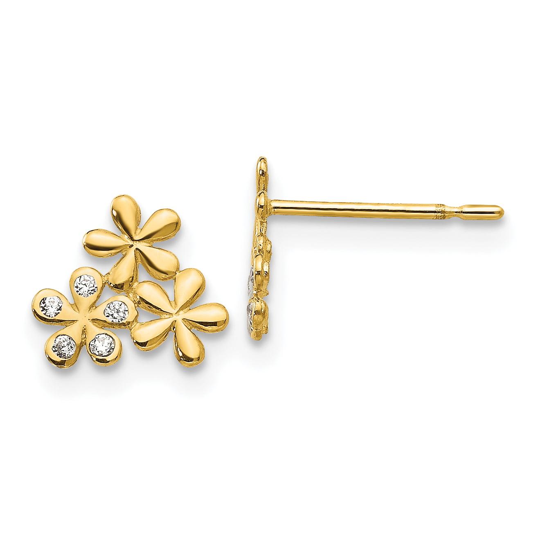 14K Yellow Gold Madi K CZ Children's Flower Post Earrings - image 2 de 2