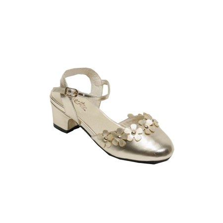 Pazitos Girls Gold D'Orsey Stud Flower Band Kitten Heel Shoes
