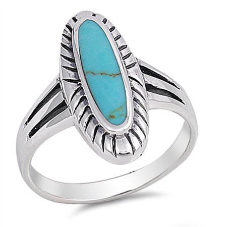 CHOOSE YOUR COLOR Simulated Turquoise Long Oval Ring New .925 Sterling Silver (Copper Turquoise Ring)