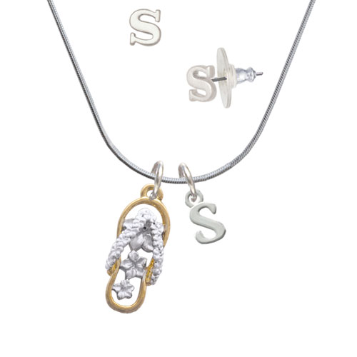 White Open Gold Tone Plumeria Flip Flop - S Initial Charm Necklace and Stud Earrings Jewelry Set