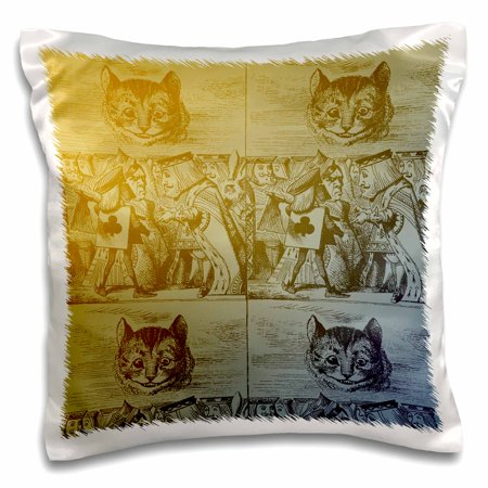 Chester Cat Alice In Wonderland (3dRose Alice in Wonderland Vintage Cat Looks Over King and Queen - Pillow Case, 16 by)
