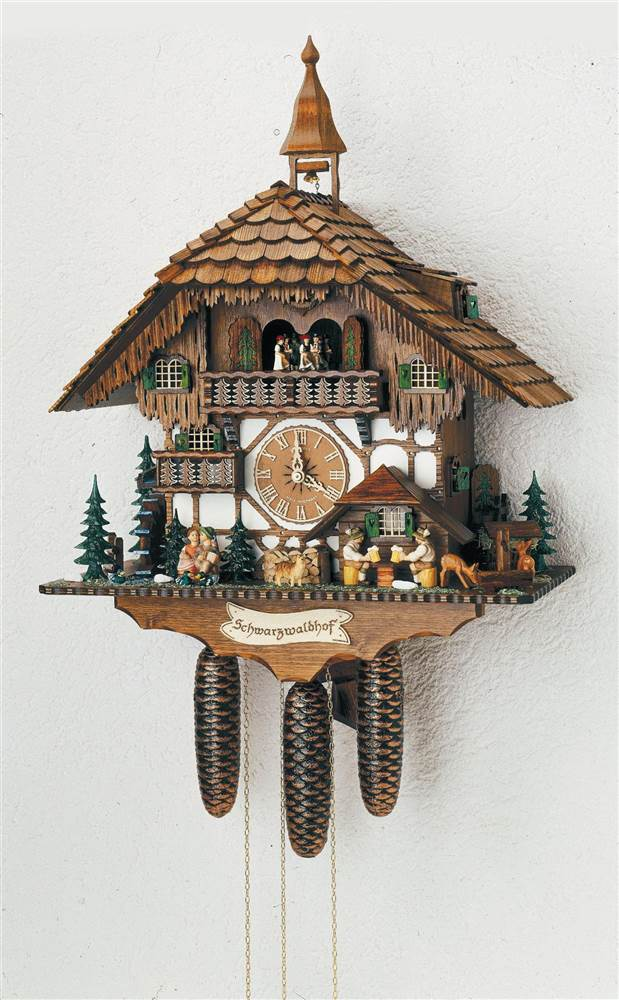 8-Day Black Forest House Cuckoo Clock w Two Melodies by Schneider Cuckoo Clocks