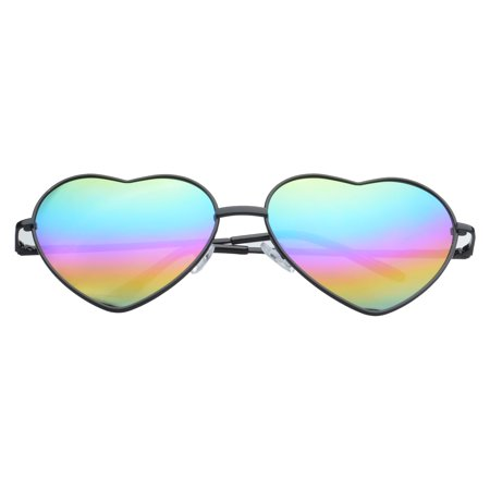 "MLC Eyewear Lolli Heart Metallic Aviator Sunglasses Oil Leak ""Play-Dirty"" Edition UV400 Lens"