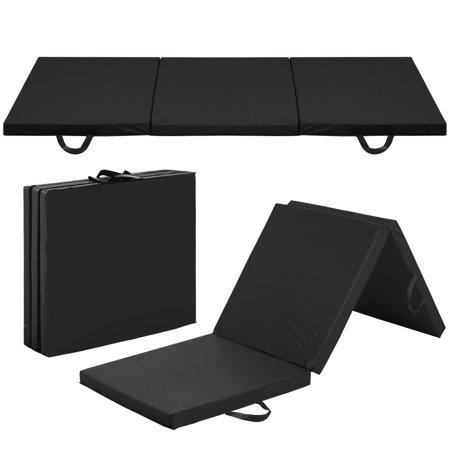 Best Choice Products 6x2ft Tri-Fold Foam Exercise Gym Floor Mat for Yoga, Aerobics, Martial Arts w/ Handles - Black