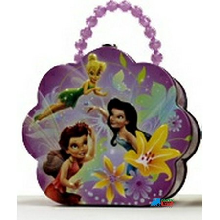 Tinkerbell Tin Box Carry All Flower Shaped Purse with Beaded Handle - Purple](Tinkerbell Handbag)