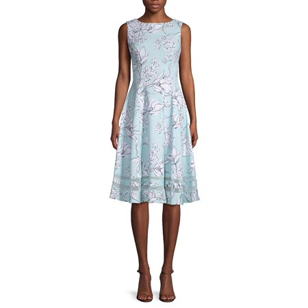 bd8d4f333e33b Calvin Klein - Sleeveless Floral Fit-and-Flare Dress - Walmart.com