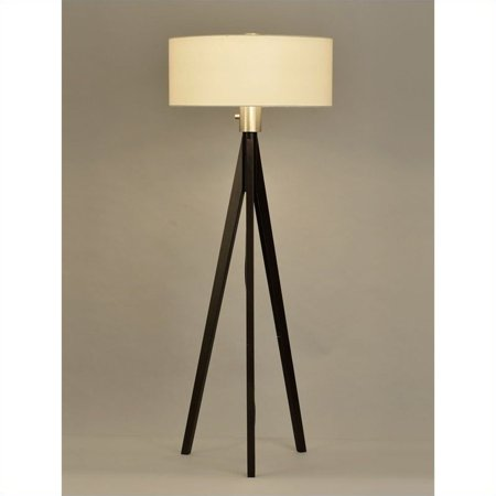 Nova California Tripod Dark Wood Floor Lamp In Pecan Walmart