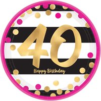 Over the Hill 'Hot Pink and Gold' 40th Birthday Large Paper Plates (8ct)