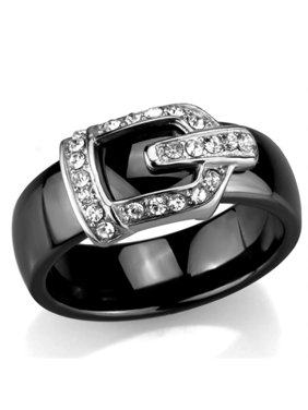 Stainless Steel Black Ceramic 6mm Wide Crystal Buckle Ring Size 7