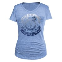 New York City FC 5th & Ocean by New Era Women's Tri-Blend V-Neck T-Shirt - Light Blue