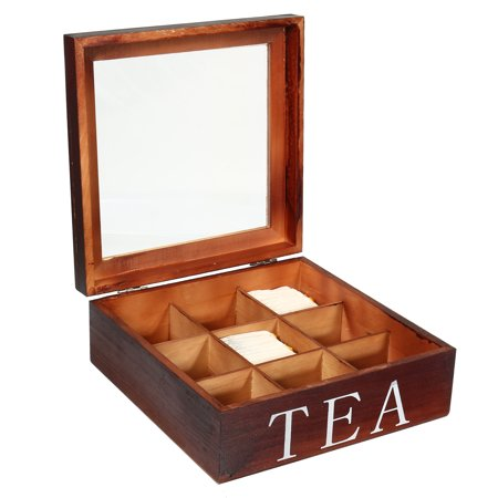 Wedlies Wooden Tea Box Storage Organizer Container with 9 Compartments and Glear Window Best Gift Idea