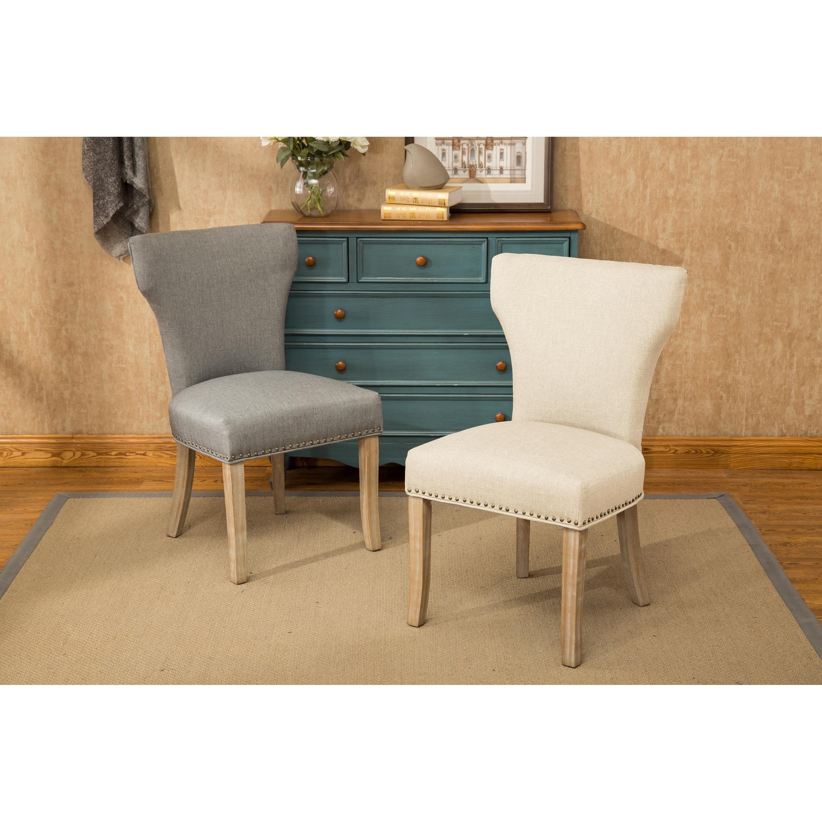 Roundhill Furniture Caen Nailhead Trim Armless Chair, Set of 2, Tan