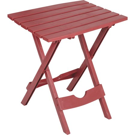 ADAMS MFG CO Patio Side Table, Quik Fold, Resin, Merlot 8500-95-3735 ()