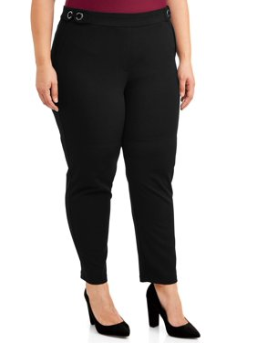 Zac & Rachel Women's Plus Size Scuba Crepe Slim Leg Ankle Pants with Gunmetal Grommets