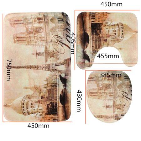3Pcs Non-Slip Bathroom Set Contour Pedestal Rug + Lid Toilet Cover + Bath Mat Eiffel Tower Home Decor Gift (Decor Toilet)