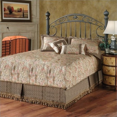 Bowery Hill Queen Metal Spindle Low Profile Bed in Antique Black Gold Antique Gold Metal Bead