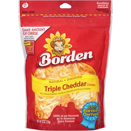 Borden Triple Cheddar Natural Shredded Cheese, 8 oz