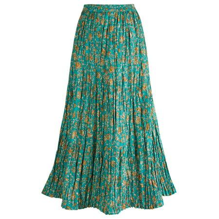 Women's Peasant Skirt - Traveler's Reversible Long Cotton Green Skirt