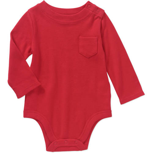 Garanimals Newborn Baby Boys' Long Sleeve Solid Pocket Bodysuit