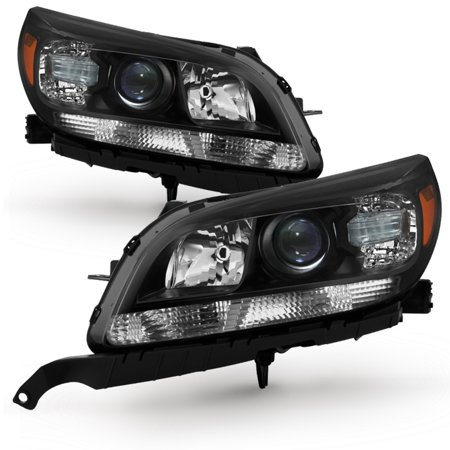 Fit 2013 2014 2015 Chevy Malibu LT LTZ Black Projector Headlights Replacement