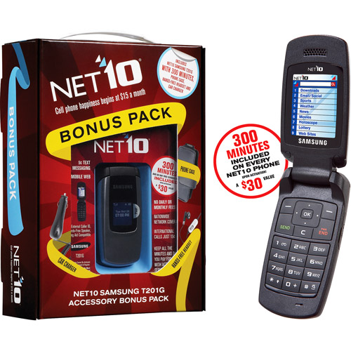 NET10 Prepaid Samsung T201g Phone Bundle with 300 Minutes & Accessories