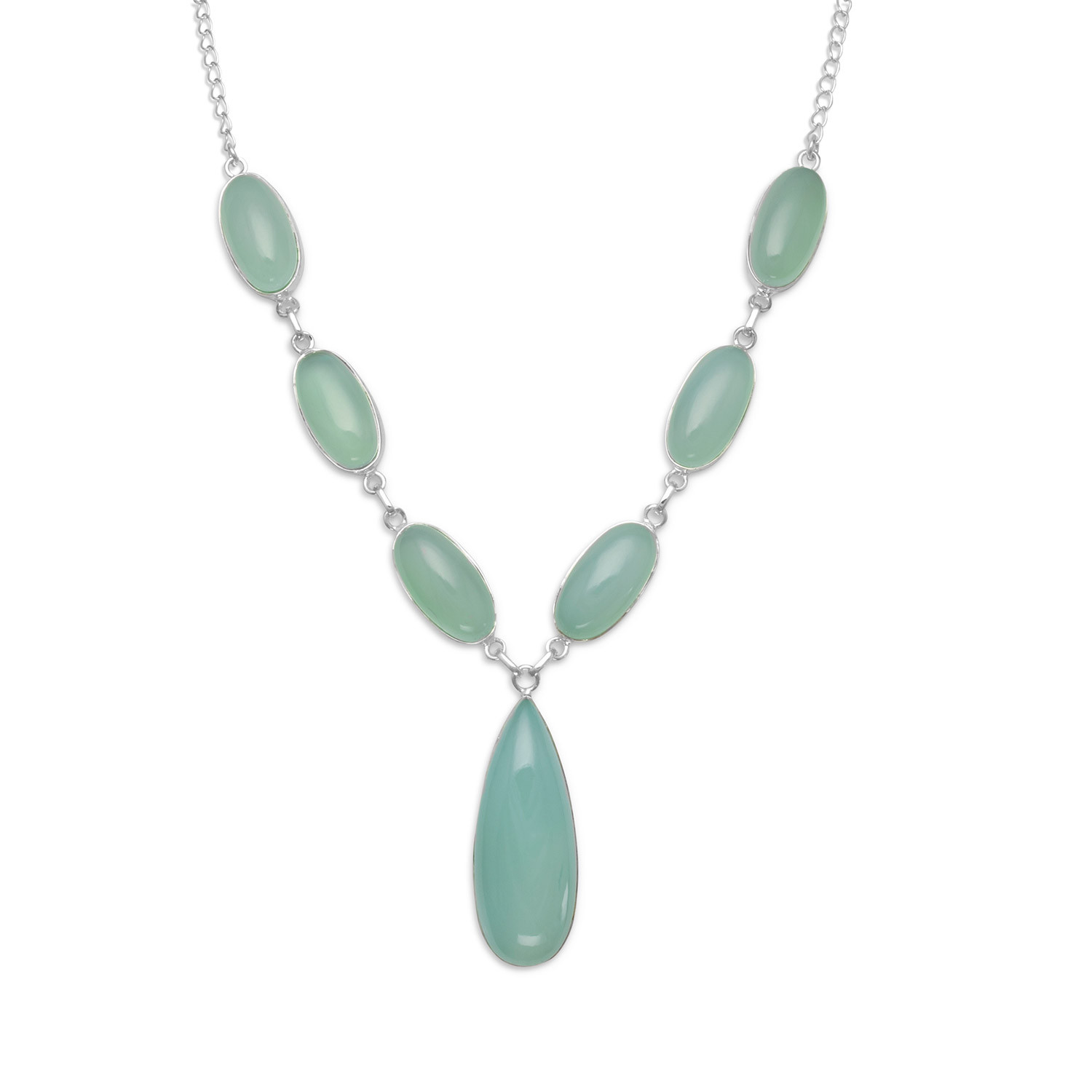 Sea Green Chalcedony Seven Stone Sterling Silver Necklace by unknown