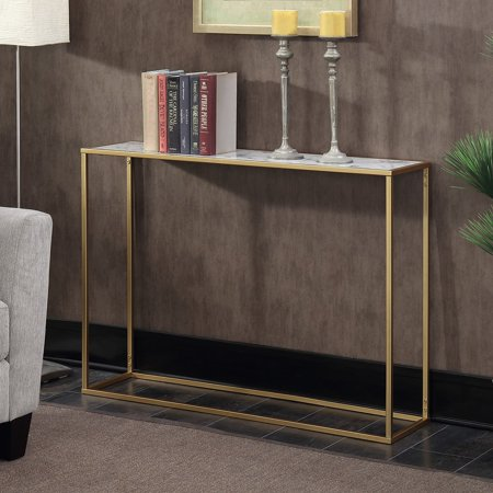 Hidden Treasures Console Table - Convenience Concepts Gold Coast Faux Marble Console Table