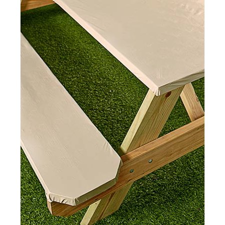 3 Pc Textured Picnic Table Covers Cream Walmart Com