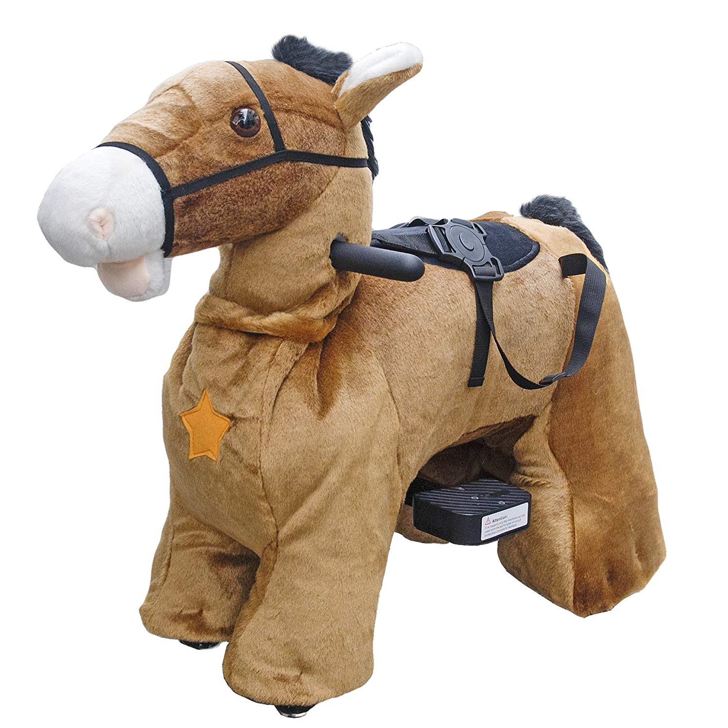 Rechargeable 6V 7A Plush Animal Ride On Toy for Kids (3 ~ 7 Years Old) With Safety Belt Horse by HOVERHEART