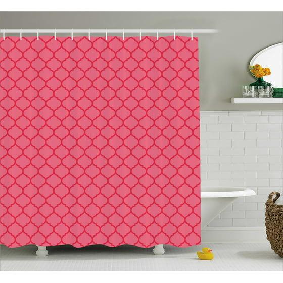 Coral shower curtain quatrefoil pattern gothic for Quatrefoil bathroom decor