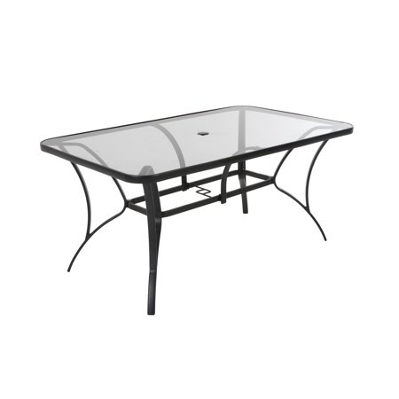 COSCO Outdoor Living Paloma Steel Patio Dining Table, Dark Gray Steel Frame, Tempered Glass Table Top Glass Top Patio Tables