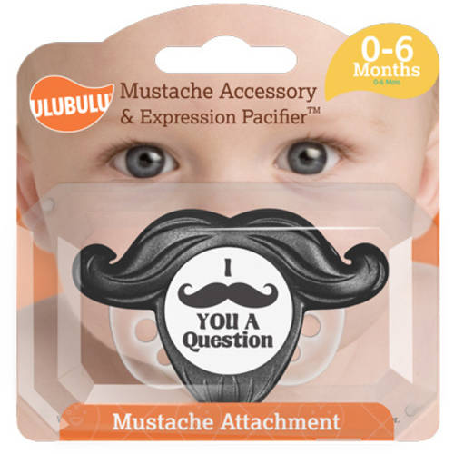 Ulubulu Black Detachable Mustache Pacifier, 0-6 Months, Single Pack
