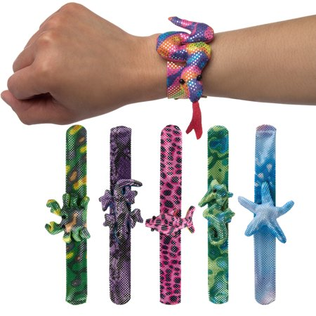 Great Lakes Wholesale (6 Pack) Assorted Animal Slap Bracelets For Kids Party Favors Bulk Toys For Boys Girls (Adult Toys Wholesale)