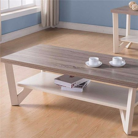 Stylish Center Display Coffee Table, Brown & White ()