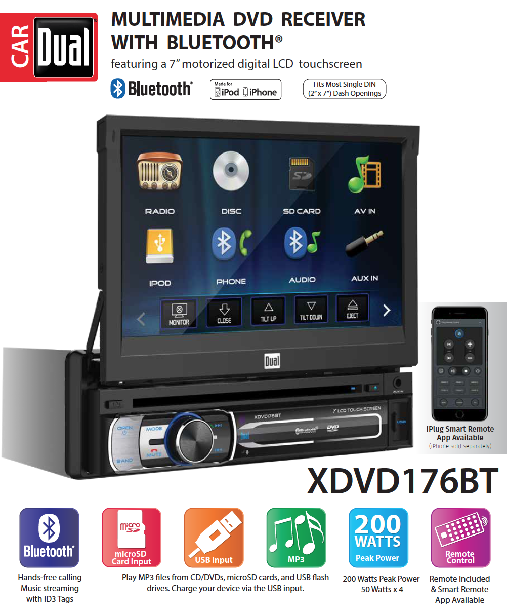 dual electronics xdvd176bt 7 inch led backlit lcd multimediadual electronics xdvd176bt 7 inch led backlit lcd multimedia retractable \u0026 detachable touch screen single