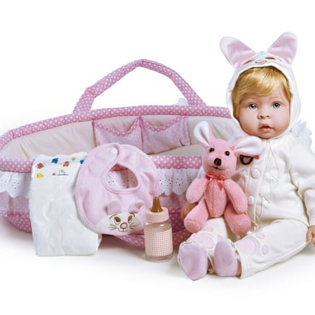 - Paradise Galleries Real Life Reborn Baby Doll Molly & Fluffy, 9-Piece Gift Set, 17 inch Doll in GentleTouch Vinyl & Weighted Body