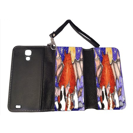 KuzmarK Samsung Galaxy S4 Wallet Handbag Case - Batty Kitty Family & Full Moon Halloween Cat Art by Denise Every (S4 Dallas Halloween)